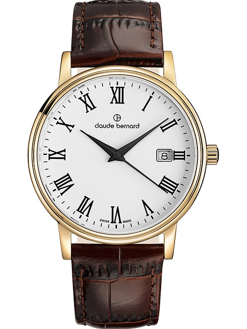Claude Bernard Classic Gents/Ladies White|Yellow|Brown CB53007-37J-BR front view
