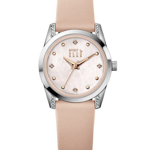 Elle Steel with Stone case, Pink MOP with Stone dial, Pink strap ES20143S03X