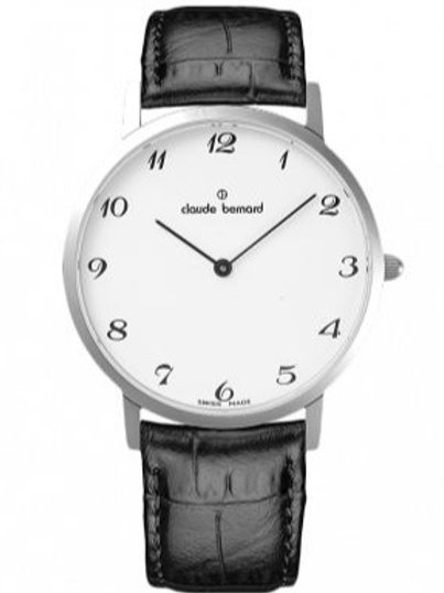 Claude Bernard Classic Gents Slim Line  White|Silver|Black CB20202-3-BB front view