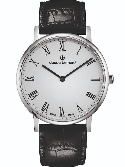 Claude Bernard Classic Two Hands White|Silver|Black CB20214-3-BR front view