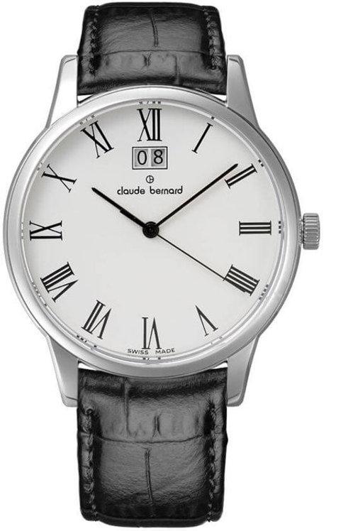 Claude Bernard Classic Big Date White|Silver|Black CB63003-3-BR front view