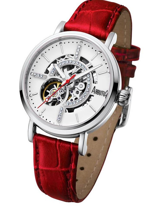 ARBUTUS Ladies Skeleton AR1605SWR, Front View, White Dial, Stainless Steel, Red Leather Strap