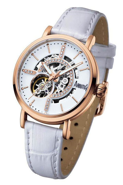 ARBUTUS Ladies Skeleton AR1605RWW, Front View, White Dial, White Leather Strap, Stainless Steel Rosegold Plated