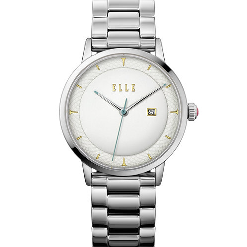 Elle Steel case, Embossed Silver White dial and bracelet EL20458B04N front view