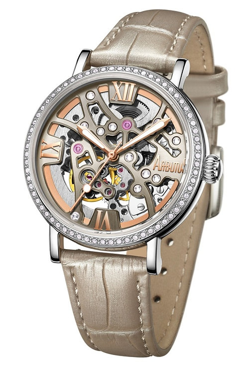 ARBUTUS Ladies Skeleton AR1906SFW, Front View, Brown Sunray Dial, Stainless Steel in IP Rosegold Platting, White Calf Leather