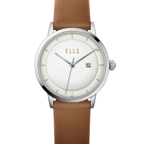Elle Steel case, Embossed Silver White dial, Brown strap EL20458S01N