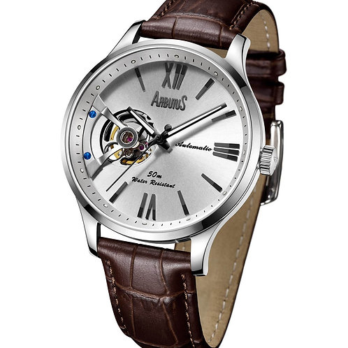 ARBUTUS Open Heart AR1807SWF, Front View, White Dial with Black Indices, Stainless Steel, Brown Leather Strap