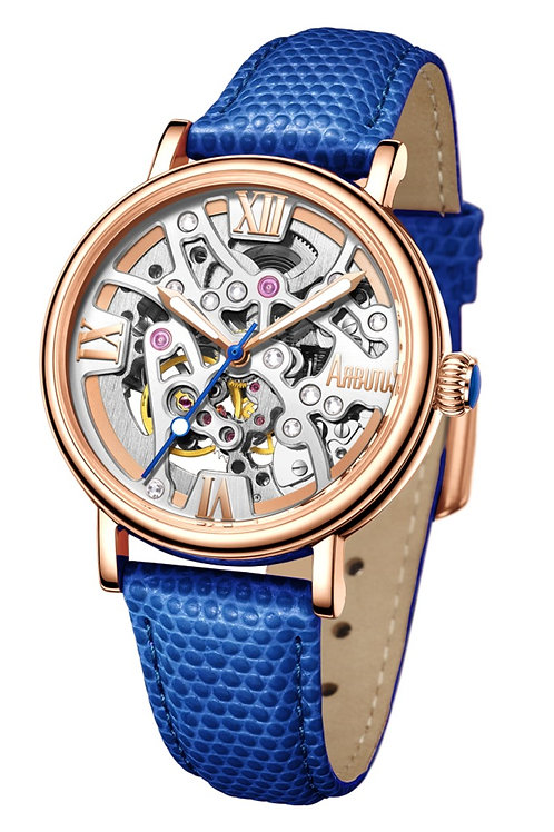 ARBUTUS Ladies Skeleton AR1906RWU, Front View, Silver White Sunray Dial, Stainless Stl in IP Rosegold Platting, Blue Leather