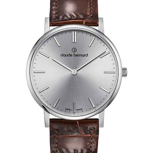 Claude Bernard Slim Line Two Hands Silver|Silver|Brown CB20219-3-AIN