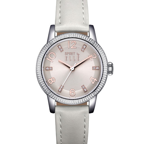 Elle silver dial with grey strap ES21007S04X front view