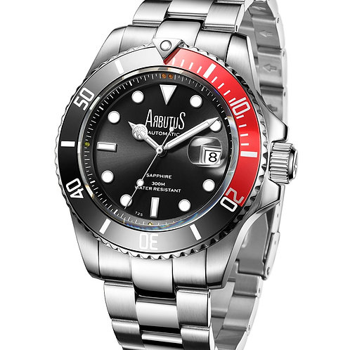 ARBUTUS Dive Automatic AR1907SRS, Front View, Black Sunray Dial with Gas-Tube Indices, Black/Red Rotating Bezel