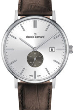 Claude Bernard Slim Line Small Second Silver|Silver|Brown CB65004-3-AING