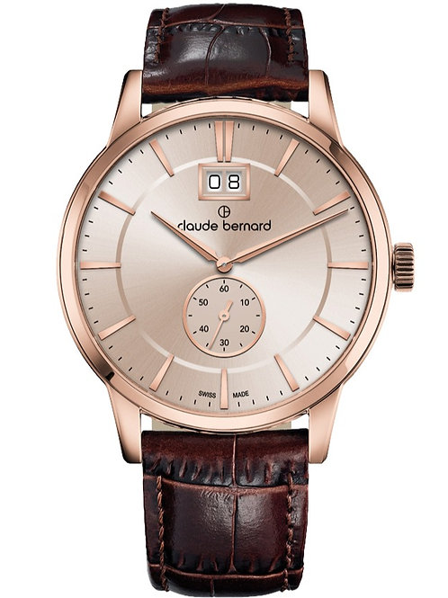 Claude Bernard Classic Big Date Small Second Silver|Pink|Brown CB64005-37R AIR3 front view