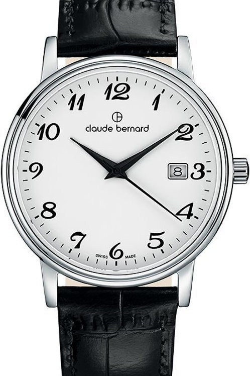Claude Bernard Classic Gents/Ladies White|Silver|Black CB53007-3-BB front view