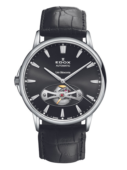 Edox Les Bemont Automatic Open Heart ED85021-3-NIN front view, open heart function