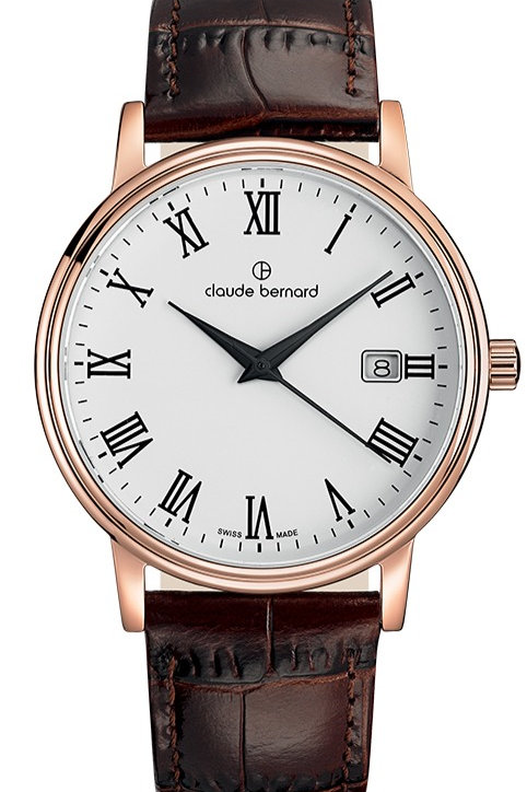 Claude Bernard Classic Gents/Ladies White|Pink|Brown CB53007-37R-BR front view