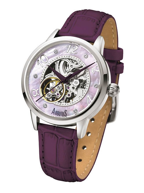 ARBUTUS Classic Ladies Skeleton AR805RVV, Purple Dial, Stainless Steel in IP Rosegold, Purple Leather Strap