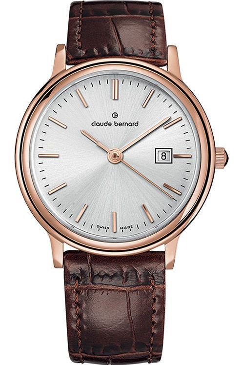 Claude Bernard Classic Gents/Ladies Silver Pink Brown CB54005-37R-AIR