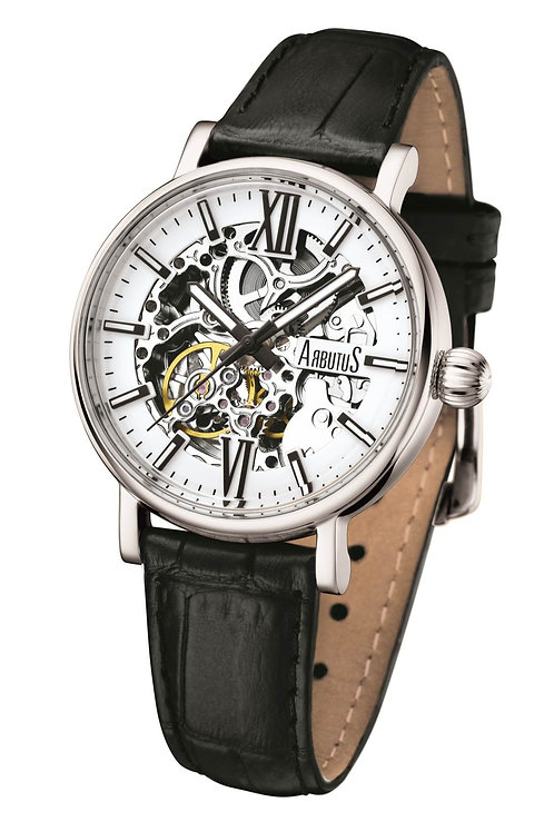 ARBUTUS Ladies Skeleton AR910SWB, White Dial with Black Index, Stainless Steel, Black Leather Strap, 40Hr Power Reserve