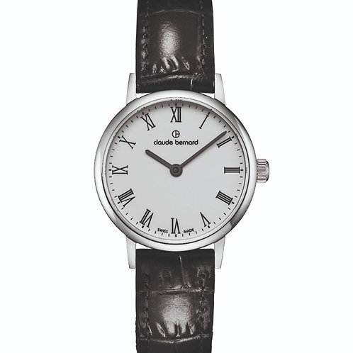 Claude Bernard Classic Two Hands White|Silver|Black CB20215-3-BR front view