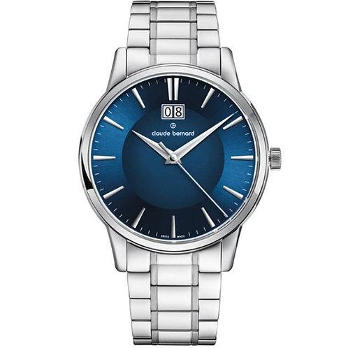 Claude Bernard Classic Big Date Blue|Silver|Silver  CB63003-3M2-BUIN