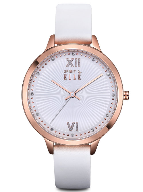 Elle sunray white dial rose gold case and bracelet ES21008S05X