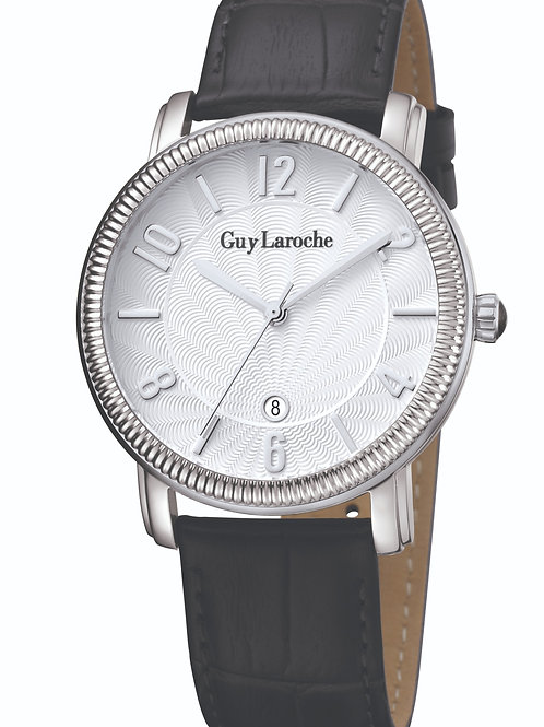 Guy Laroche Gents guilloche white dial and black leather strap GLG2010-01 front view