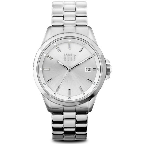 Elle silver dial with date and bracelet ES20101B05X front view