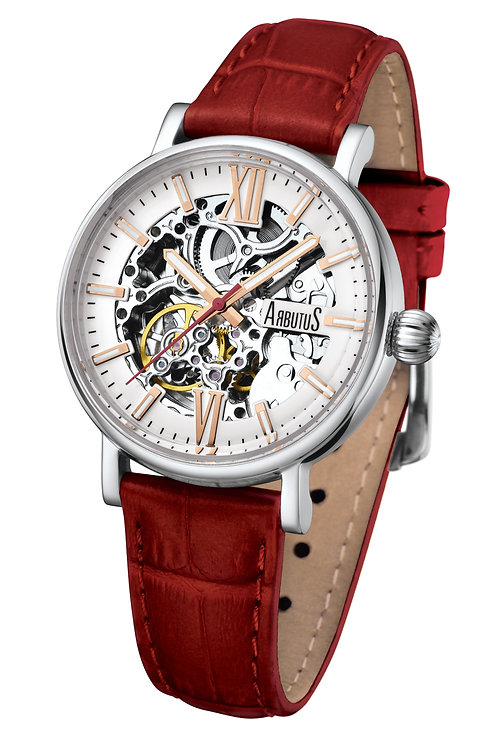 ARBUTUS Ladies Skeleton AR910SWR, White Dial with Applied Index, Stainless Steel, Red Leather Strap, 40Hr Power Reserve