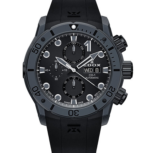 EDOX carbon chronograph ED01125CLNGNNING front view