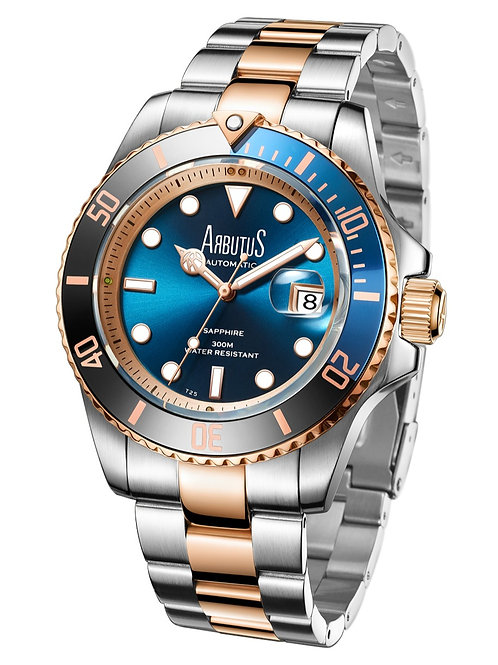 ARBUTUS Dive Automatic AR1907TRUS, Blue Sunray Dial with Gas-Tube Indices, Striking Black and Blue Rotating Bezel,