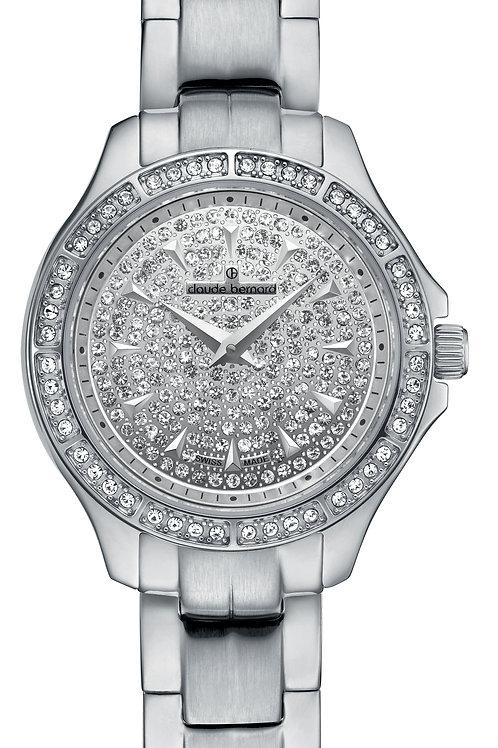 Claude Bernard Dress Code Lady Slim Line Silver|Silver|Silver CB20205-3-PN front view