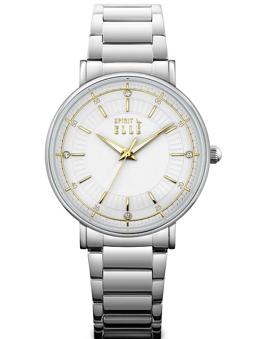 Elle white dial gold index in stainless steel bracelet ES20135B03X front view