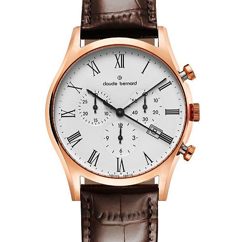 Claude Bernard Classic Date Small Second White|Pink|Brown CB10218-37R-BR front view