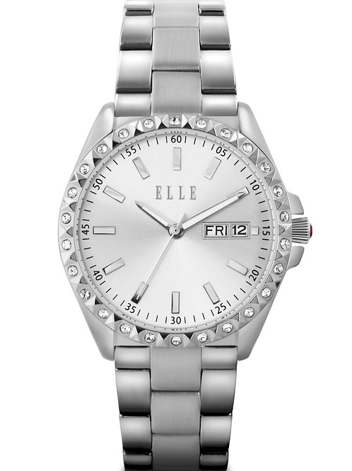 Elle steel case with stone, sunray silver dial, day date, bracelet EL20363B01N front view