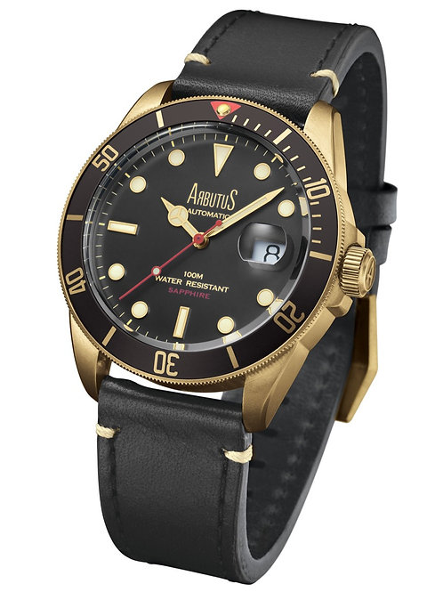 ARBUTUS Bronze ARBR01GBB, Front View, Bronze with Black Unidirectional Rotating Bezel, Black Dial, Black Leather Strap