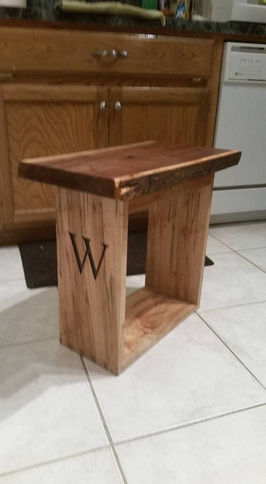Live edge walnut end table