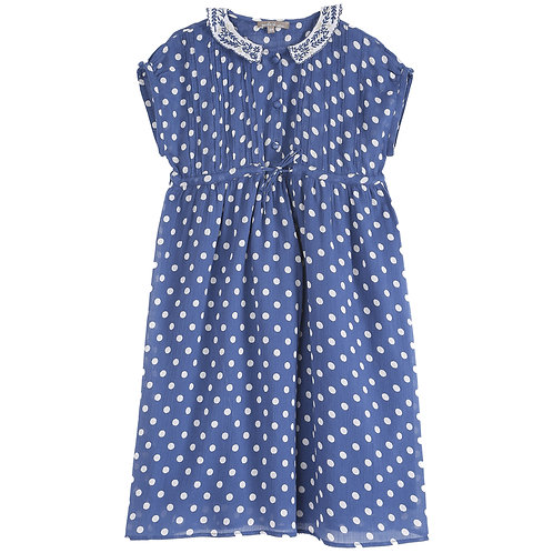 Blue Mid Lenghth Dress With White Polka Dots