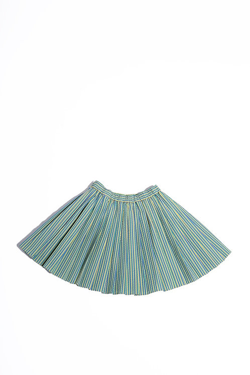 Elastic Waist Pleated Skirt/ Emerald