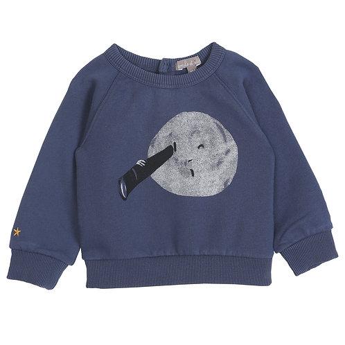 Night Blue Sweatshirt & Chambray Pants Set