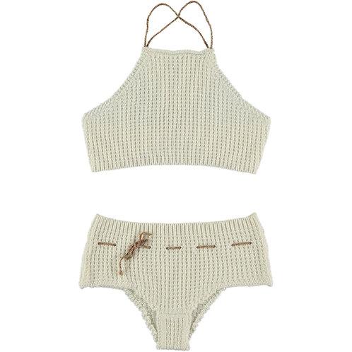 Beige Cotton Crochet Bikini