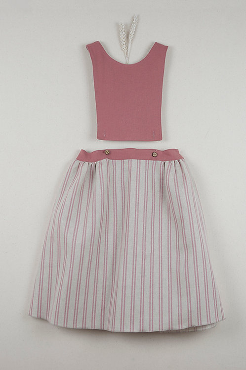 Red Clay Coloured Stripes Removable & Reversible Bib Dress