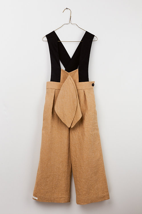 Bow Jumpsuit - Dusty Sand Black