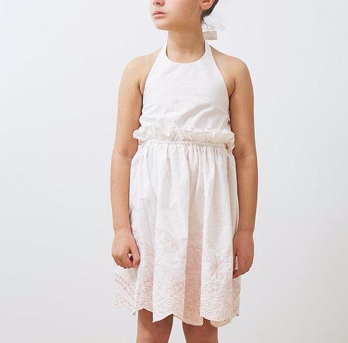 Embroidered Linen Halterneck Dress