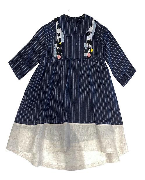 Sheikha Dress- Navy Stripes