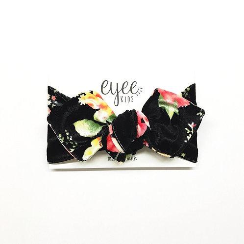 Top Knot Headband- Black Floral Velvet
