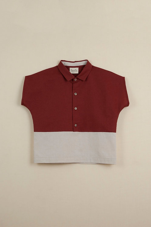Earth Red Shirt With Collar