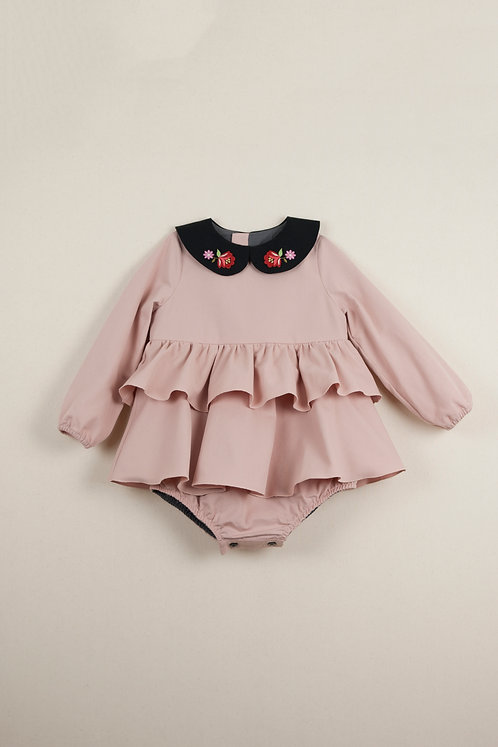 Pink Romper Suit With Frill