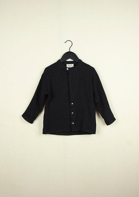 Black Mandarin Collar Shirt