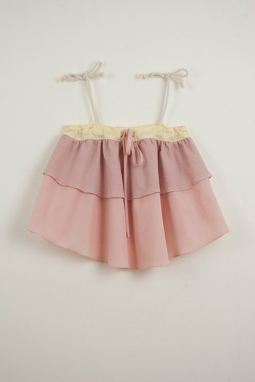 Set Of Vanilla Culotte With Frill & Double Layer Frill Blouse